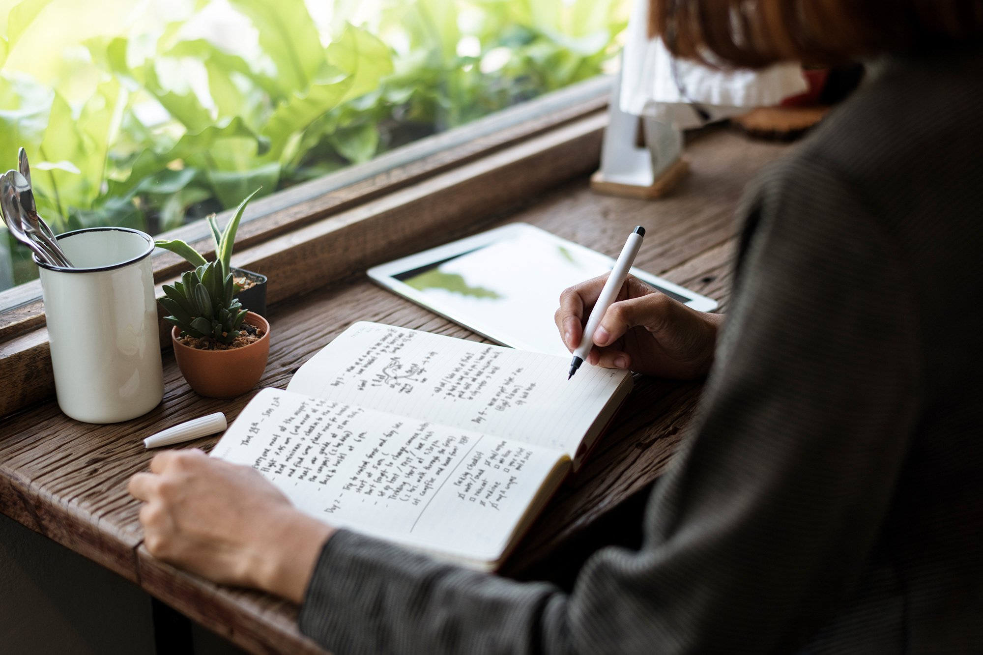 Woman taking notes in a journal